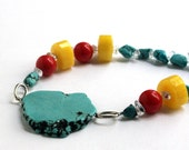 Bright Turquoise Stone Statement Necklace - Hyacinth Macaw