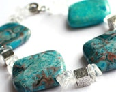 Chunky blau Achat Armband - kristallklares Wasser