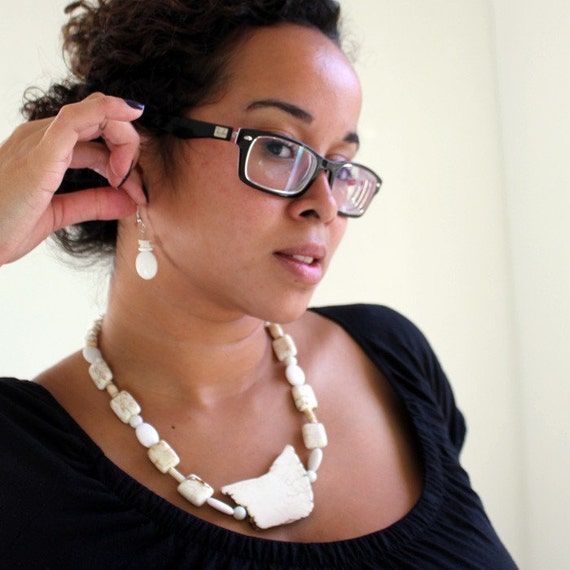 Chunky White Howlite Statement Necklace and Earring Set - Flintstone Love - Jewelry Gifts
