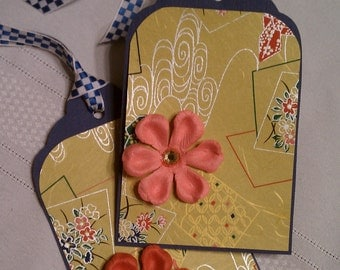 Origami and Paper Flower Gift Tags set of 2