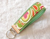 Cotton Fabric Key Chain Wristlet in Soft Summer Paisley