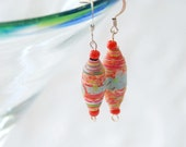 Recycled Paper Dangle Earrings in Harvest Red, Pale Blue and Pumpkin Orange