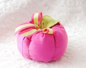 Fall Plush Fabric Pumpkin in Pink Faux Silk with Lime Green and Pink Grosgrain Ribbon