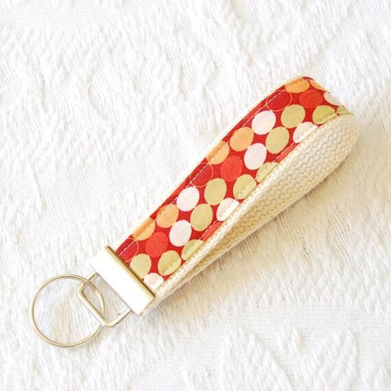 Key Fob Key Chain Wristlet in Tangerine Polka Dot