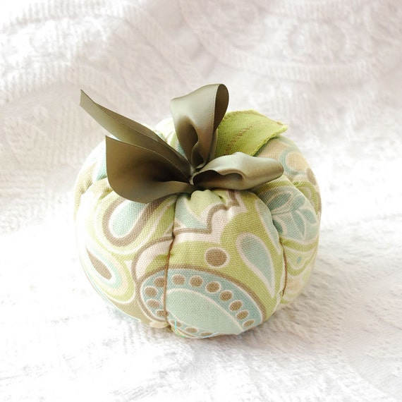 Fall Plush Fabric Pumpkin in Sage and Olive Green, Pale Blue and Taupe Paisley