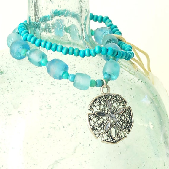 Lace Sand Dollar Charm Bracelet with Hawaiian Recycled Glass and Vintage Wooden Beads