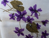 Vintage 1940s Printed Linen Tablecloth-Purple Violets-Tag attached