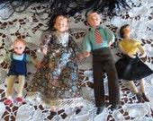 Vintage CACO Dolls Dollhouse Flexible FAMILY of 3 GERMANY