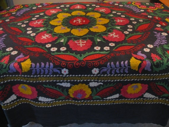 Treasury Item Vintage Hungarian Matyo Folk Art Fancy Needlework BEDSPREAD-OUTSTANDING