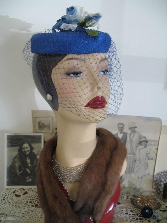 1950's Topper Hat- Birdcage Veil & Rose