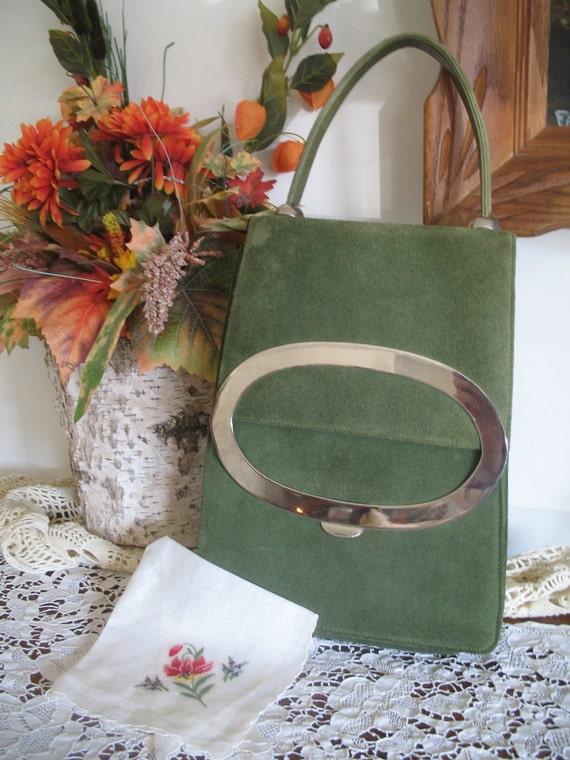 Vintage 1970's Green Suede PURSE Handbag -with Hankie and Change Purse