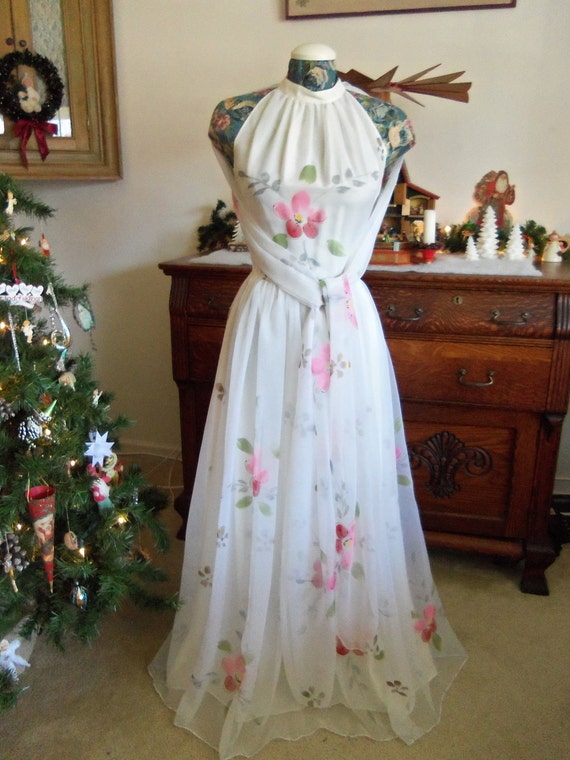 1950's Chiffon Dress-Lucie Linden Tag