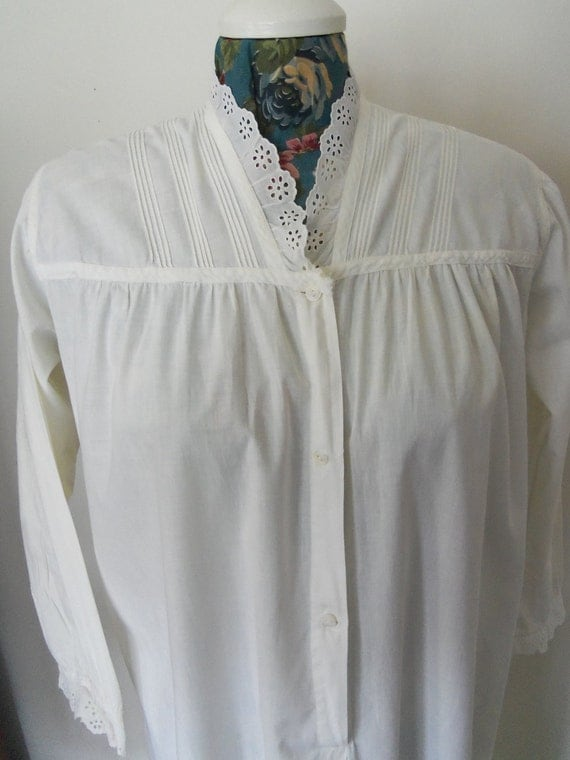 1910's Victorian Nightgown-White Cotton-Pintuck and Eyelet-Lingerie