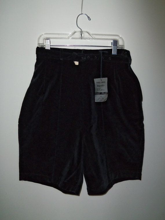 1960's Velveteen Shorts-Black with Tags Attached