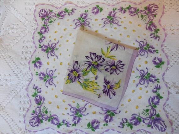 Vintage Handkerchief-2 matching hankies-Purple Floral