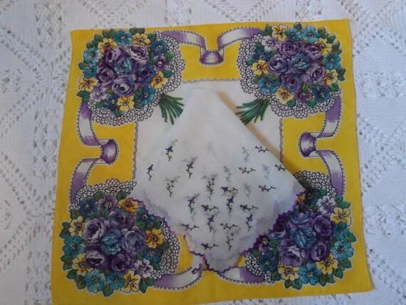 1950's Handkerchief-2 matching hankies-Yellow & Purple Floral