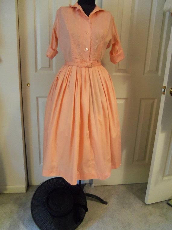 Vintage 1950's Summer Dress-Peach June Cleaver