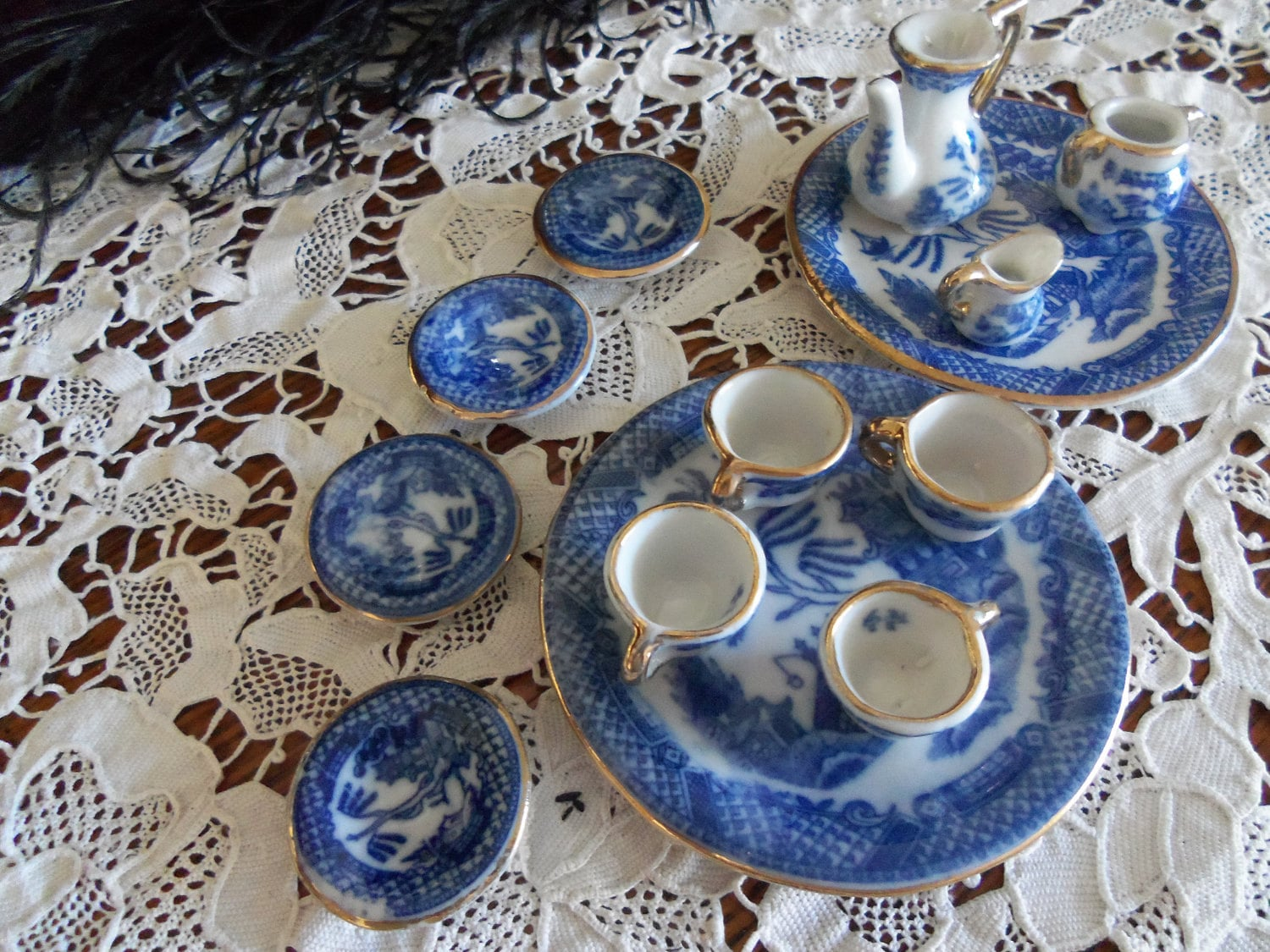 Vintage Blue Willow China Dollhouse Dish By Susieqsvintageshop