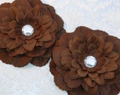 CLEARANCE - Silk Flowers - Rhinestone Centered - Brown - Zinnia - Set of Two