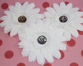CLEARANCE - Silk Flowers - Animal Print Rhinestone Centered Silk Gerbera Daisy Flowers - Set of Three