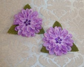 NEW to SHOP Set of TWO Lavender Silk Mum Flowers with Leaves