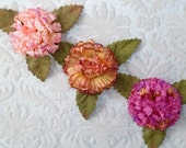 NEW to SHOP Set of THREE Silk Mum Pom Pom Flowers with Leaves