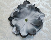 NEW to SHOP SINGLE Two-Tone Black/Silver Grey Custom Silk Peony Flower