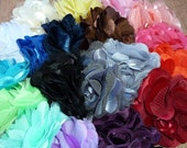 Wholesale Flowers -  Satin and Tulle Mesh Puff Flowers - Pre-Packaged Half-Dozen Lot