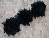 Chiffon Rosette Flowers - New PETITE SIZE Shabby Vintage Style -Black - Set of THREE