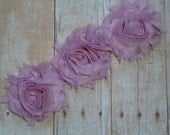Chiffon Rosette Flowers - New PETITE SIZE Shabby Vintage Style - ROSE - Set of Three