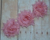 Chiffon Rosette Flowers - New PETITE SIZE Shabby Vintage Style - PAPAYA - Set of Three