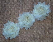 Chiffon Rosette Flowers - New PETITE Size Shabby Vintage Style - BUTTER YELLOW - Set of Three