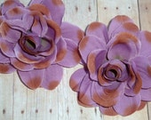 Silk Flowers - Thin Roses - Chalk Violet and Brown - Set of TWO
