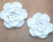 Crochet Flowers - Handmade Crochet Cotton Flower - White - Set of TWO