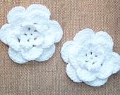 Crochet Flowers - Handmade Crochet Cotton Flower - White - Set of TWO