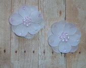 Silk Flowers - White - Sequin - Set of TWO