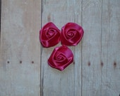 Mini Rosette Flowers - Satin - Shocking Pink - Set of Three