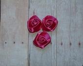 Mini Rosette Flowers - Satin - Shocking Pink - Set of Three