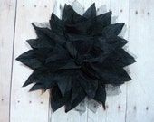 NEW COLOR - Silk Flower - Voile and Tulle - Black Spike Puff Flower - Single