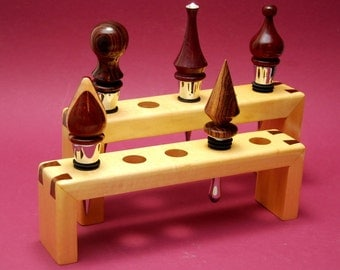 BOTTLE STOPPER DISPLAY Rack in Maple with Walnut Dovetails