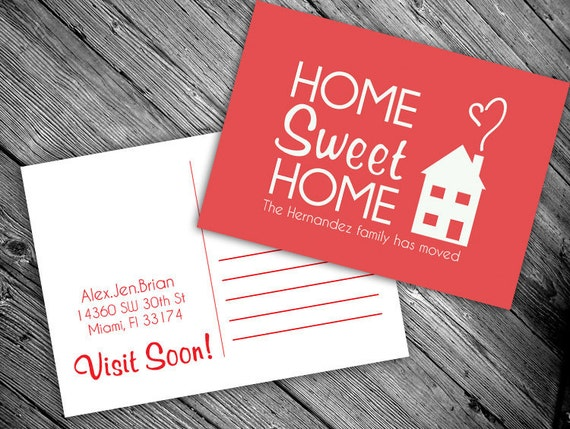 We have moved postcard: PRINTABLE (Home Sweet Home new address card)