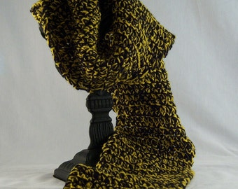 Crochet Scarf - Black and Gold