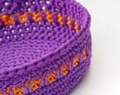 Panier au Crochet Cordon Satin violet et Orange