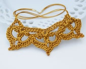 Crochet Necklace in Gold Satin Cord 'Lisa'