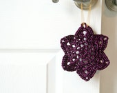 FREE SHIPPING Crochet Ornament in Plum Satin Cord