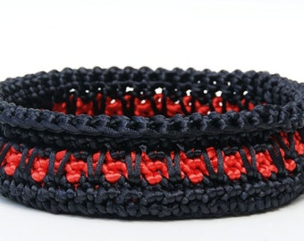 Black and Red  Satin Cord Crochet Basket