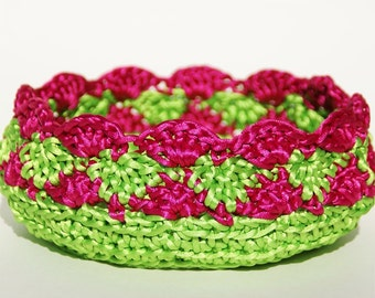 Crocheted Basket in Apple Green and Fuchsia Satin Cord