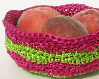 Crochet Basket in Apple Green and Fuchsia Satin Cord