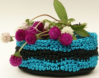 Crochet Basket in Black and Turquoise Satin Cord