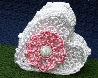 Crochet Heart Shaped Trinket Box in White Satin Cord